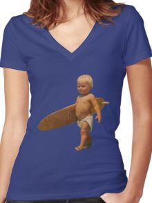Baby Surfer Women's Fitted V-Neck T-Shirt