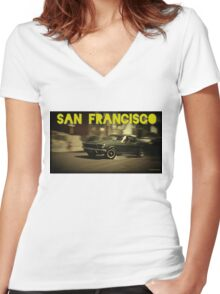 San Francisco & Muscle Cars Women's Fitted V-Neck T-Shirt