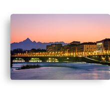 Turin (Torino), river Po and Monviso at sunset Canvas Print