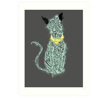 "Lying Cat ""lying"" cut out- splattered Art Print"