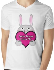 Cute Some Bunny Loves Me Heart Mens V-Neck T-Shirt