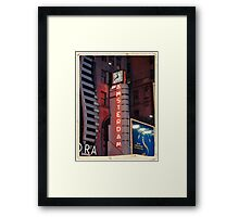 Amsterdam Theater in Times Square at night - Kodachrome Postcards Framed Print