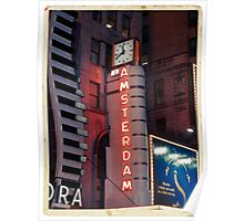 Amsterdam Theater in Times Square at night - Kodachrome Postcards Poster