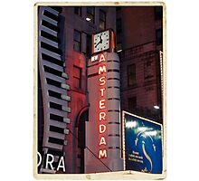 Amsterdam Theater in Times Square at night - Kodachrome Postcards Photographic Print