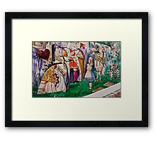 Alice Meets The King and Queen Of Hearts Framed Print