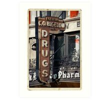 Drugstore in the West Village - Kodachrome Postcards Art Print