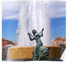 Magnificent fountain and statue Poster