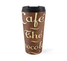 Wooden Store Sign in Paris: Coffee, chocolate, tea Travel Mug