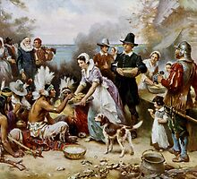 The First Thanksgiving 1621 by Jean Leon Gerome Ferris (1899). by Adam Asar