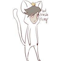 """sad trash king"" weird cats by wade-ebooks"