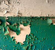 Wall with Peeling Green Blue and White Paint   by Reinvention