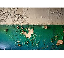 Wall with Peeling Green Blue and White Paint   Photographic Print