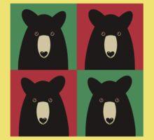 BLACK BEAR ON RED & GREEN Kids Tee
