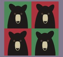 BLACK BEAR ON RED & GREEN Kids Tee