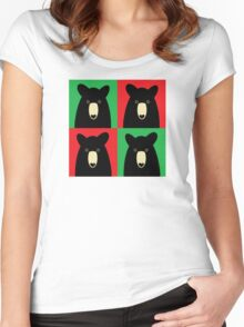BLACK BEAR ON RED & GREEN Women's Fitted Scoop T-Shirt