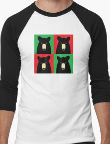 BLACK BEAR ON RED & GREEN Men's Baseball ¾ T-Shirt