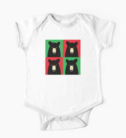 BLACK BEAR ON RED & GREEN One Piece - Short Sleeve