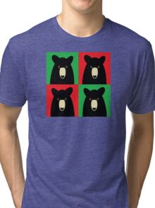 BLACK BEAR ON RED & GREEN Tri-blend T-Shirt