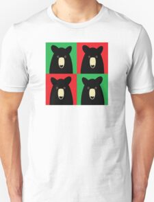 BLACK BEAR ON RED & GREEN Unisex T-Shirt