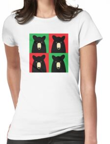 BLACK BEAR ON RED & GREEN Womens Fitted T-Shirt
