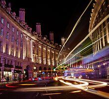 London Regent Street at Night by Erika  Szostak