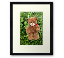 toy brown teddy bear hanging on line Framed Print