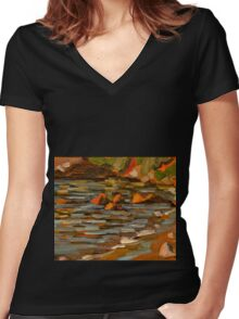 Early morning at Oyster Cove Women's Fitted V-Neck T-Shirt