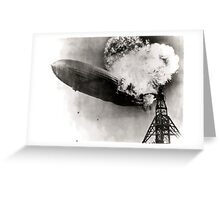 The Zeppelin LZ 129 Hindenburg catching fire on May 6, 1937 at Lakehurst Naval Air Station in New Jersey. Greeting Card