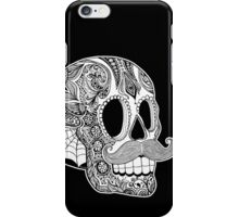 Mustache Sugar Skull (Black & White) iPhone Case/Skin