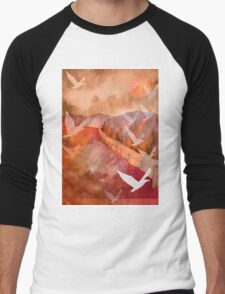 Gulls Overflying Downland Men's Baseball ¾ T-Shirt