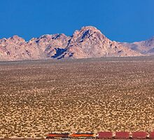 BNSF freight train running across Mojave Desert. by Alex Preiss