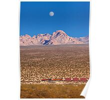 Freight train running across Mojave Desert. Poster