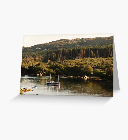 Lonesome boatmen - Dunboy Harbour, West Cork Greeting Card