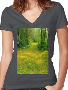 Sunny Summer Forest Glade Women's Fitted V-Neck T-Shirt