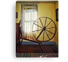 Large Spinning Wheel Near Lace Curtain Canvas Print