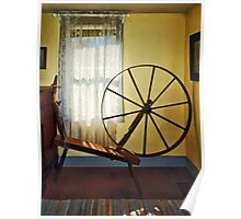 Large Spinning Wheel Near Lace Curtain Poster