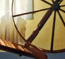 Large Spinning Wheel Near Lace Curtain Sticker