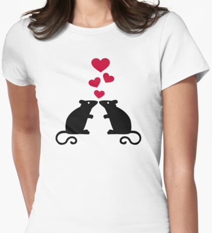 Mice mouse hearts love Womens Fitted T-Shirt