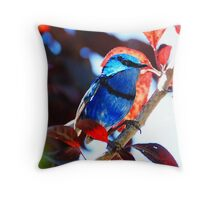 Blue on Red Throw Pillow