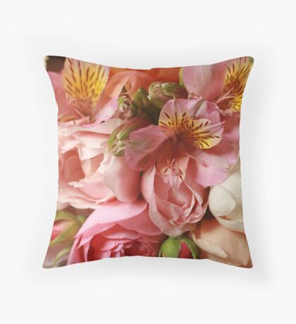 Roses & alstromeria bouquet Throw Pillow