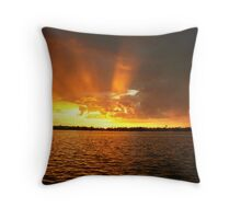 rosy fingered and wet sunset Throw Pillow