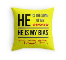 HE IS MY BIAS T.O.P. - Yellow Throw Pillow