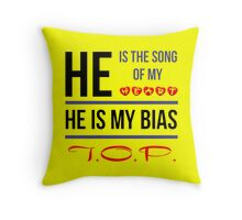 HE IS MY BIAS T.O.P. - Yellow Throw Pillow