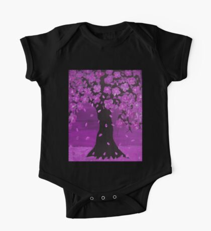 Purple Blossom Tree Design Art One Piece - Short Sleeve