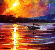 Lonely Yacht — Buy Now Link - www.etsy.com/listing/224993101 by Leonid  Afremov