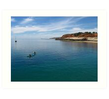 Port Noarlunga cliffs and boats Art Print