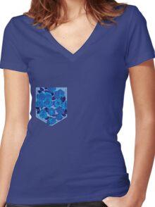 Floral Pattern Pocket 2 Women's Fitted V-Neck T-Shirt