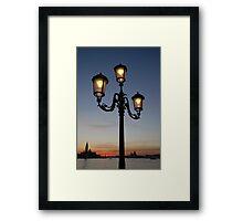 Street Light Against Venice at Sunset Framed Print