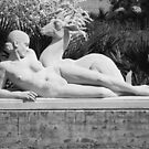 NUDE WOMAN AND DEER, STATUE, BROOKGREEN GARDENS by RGHunt