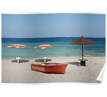 Lifeboat and Three Beach Umbrellas Poster